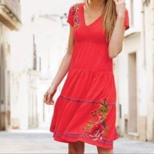 Johnny Was Red embroidered vacation dress Medium